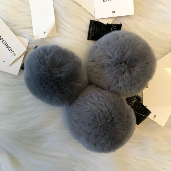 fe69d4df51a Gray Rabbit fur Poms. NWT. Adrienne Landau